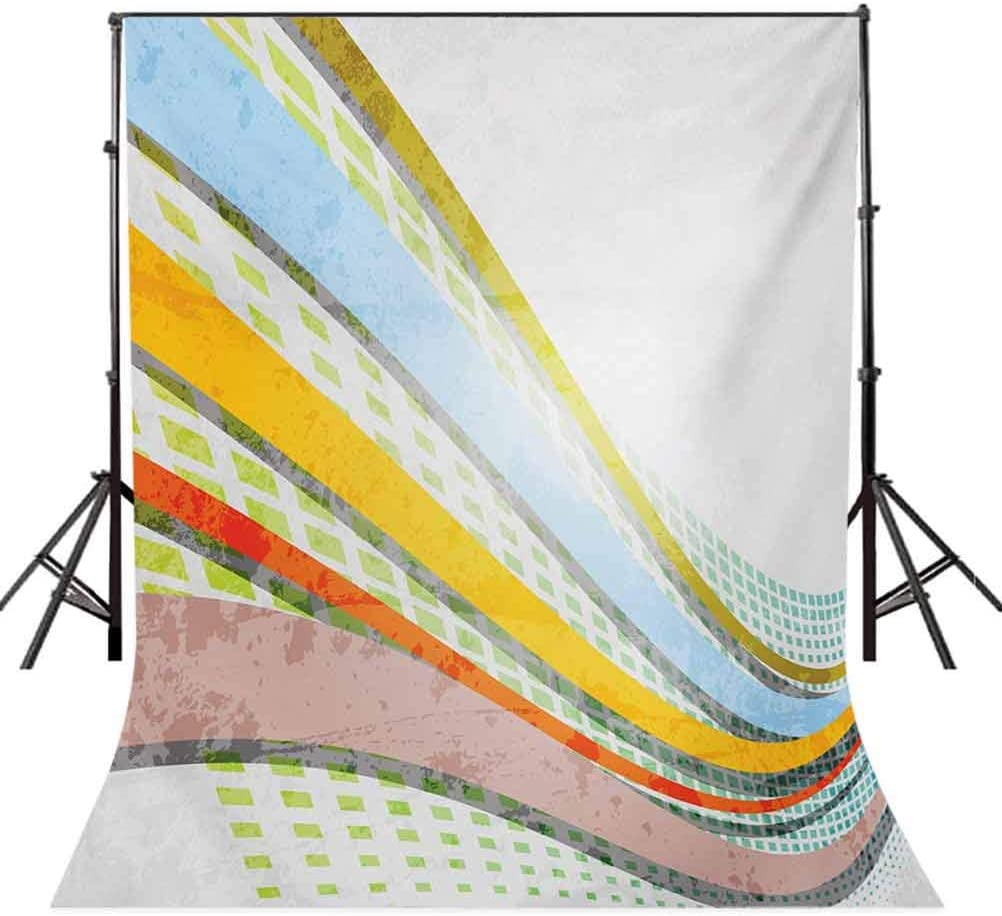 10x12 FT Photography Backdrop Vintage Design Inspirations Colorful Curved Stripes and Checkered Squares Background for Baby Shower Birthday Wedding Bridal Shower Party Decoration Photo Studio