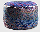 Handmade Cotton Pouf Cover Round Ottoman Pouf Cover Indian Urban Mandala Ethnic Floor Pillow Indian Décor Floral Mandala Indian Pouf Ottoman Cover Round Poof Pouffe Foot Stool Floor Pillow Decor Home