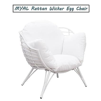 MYAL Rattan Wicker Egg Chair Patio Furniture with Cushion White - Amazon.com : MYAL Rattan Wicker Egg Chair Patio Furniture With