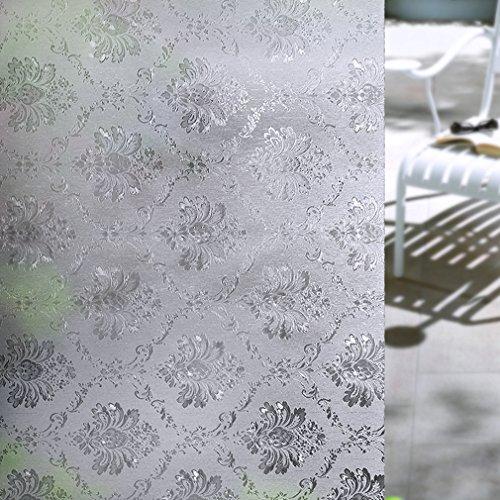 Elegant flowers Non-Adhesive Static Cling Anti-UV Window Film Privacy Decorative Window Film 90x200cm (36x79inch)