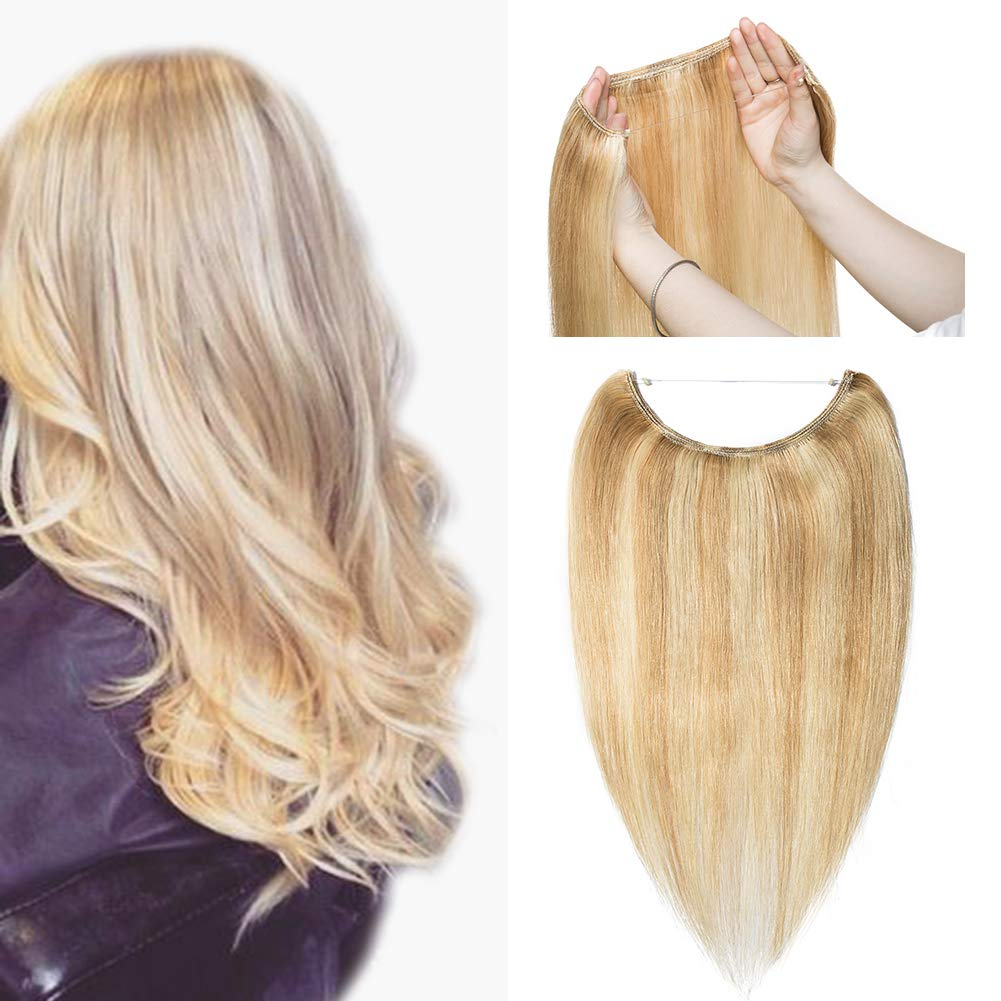 Hidden Invisible Crown Flip on Human Hair Extension One Piece Secret Miracle Wire in Hairpieces Highlight Remy Hair Translucent Fish Line Headband 60g 16'' #18/613 Light Ash Blonde/Bleach Blonde