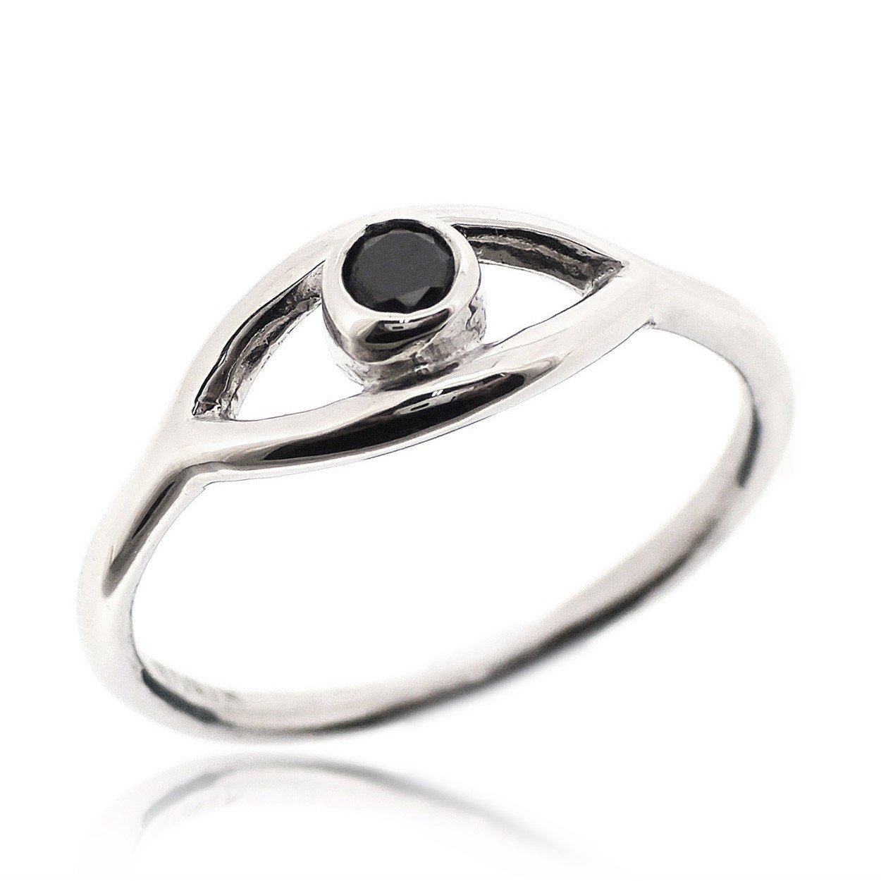 SOVATS Evil Eye Lucky Jewelry Protection Ring For Women Set With Black Cubic Zirconia 925 Sterling Silver Rhodium Plated - Simple, Stylish &Trendy Nickel Free Ring, Size 5