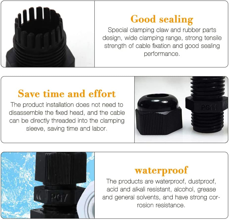 Kabeldurchf/ührung Wasserdicht IWILCS Kabelverschraubung Kabelverschraubung Set M25 f/ür Kabel Fest M12 M20 M16 40pcs IP68 Wasserdichte Verschraubung