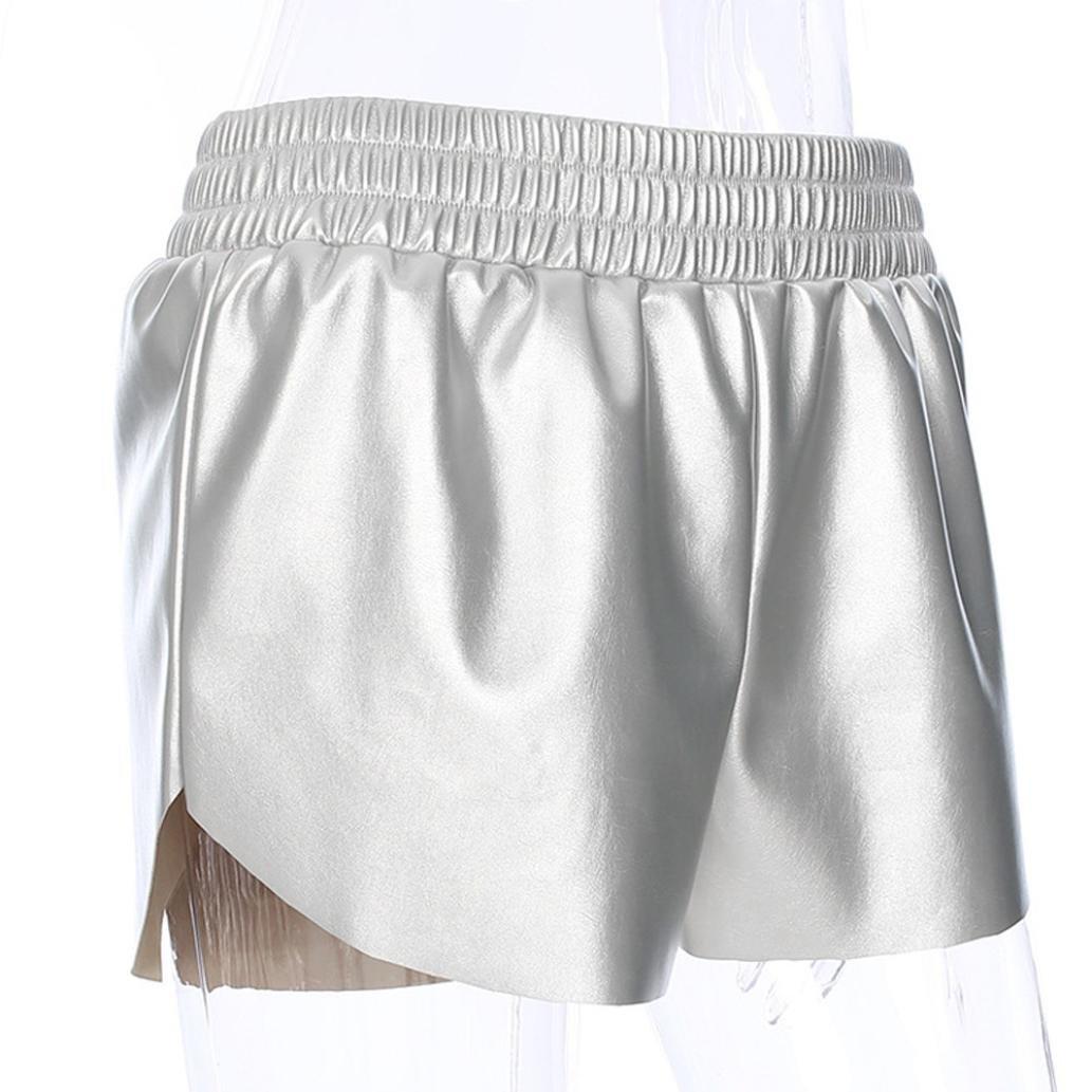 ♥-♥-♥-Pantalones Cortos para Mujer, RETUROM 2018 Pantalones Cortos de Cuero de la Cintura Media de Mujer Pantalones Cortos Flojos Pantalones Cortos de ...