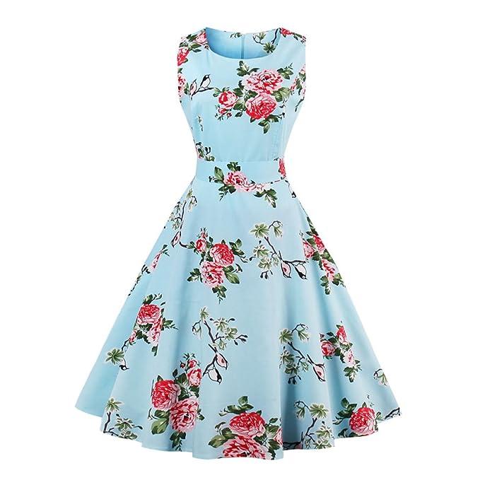 La mujer Vestido Vintage Retro Imprimir Foral Rockabilly Navidad vestir casual Hepburn parte Swing vestido vestidos