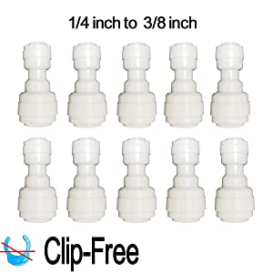 "Malida Quick Push to Connector, Water Tube Fitting,1/4"" Tube OD x 3/8"" Tube OD Reducing Straight Union,for RO Water Systems,Water Purifiers Tube Fittings,Pack of 10."