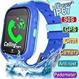 Kid Smart Watch GPS Tracker - IP67 Waterproof Fitness Tracker Watch Phone with SIM SOS Camera Anti-lost Game Pedometer Digital Wrist Summer Outdoor Gift Sport Bracelet Watch iOS/Android (Blue)