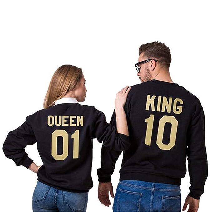 Sweatshirts Mujer Elegantes Moda Otoño Sudaderas con Capucha King Queen Carta Impresión Manga Larga Joven Cuello Redondo Anchos Casual Camisas Sudaderas ...