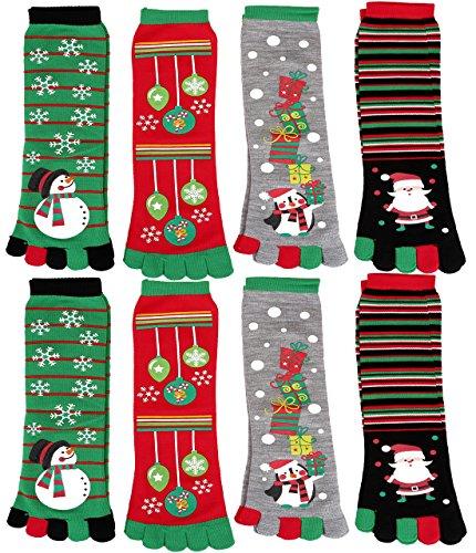 Toe Christmas Stocking (Ayliss 4/8 Pair Womens Five Toes Christmas Socks Winter Warm Stretchy Crew Socks,8 Pairs)