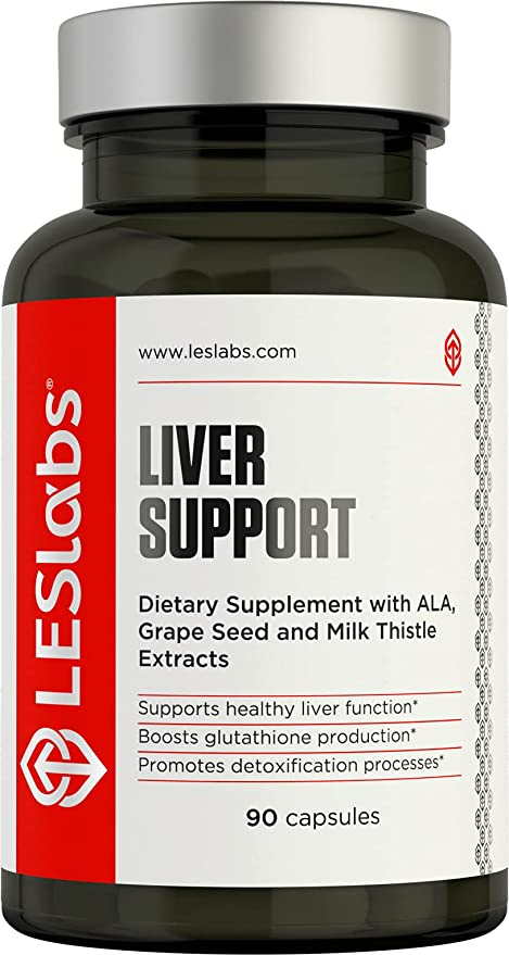 LES Labs Liver Support, Liver Cleanse Supplement for Healthy Liver Function, Detox & Glutathione Production with Milk Thistle, Cysteine & Dandelion, 90 Capsules