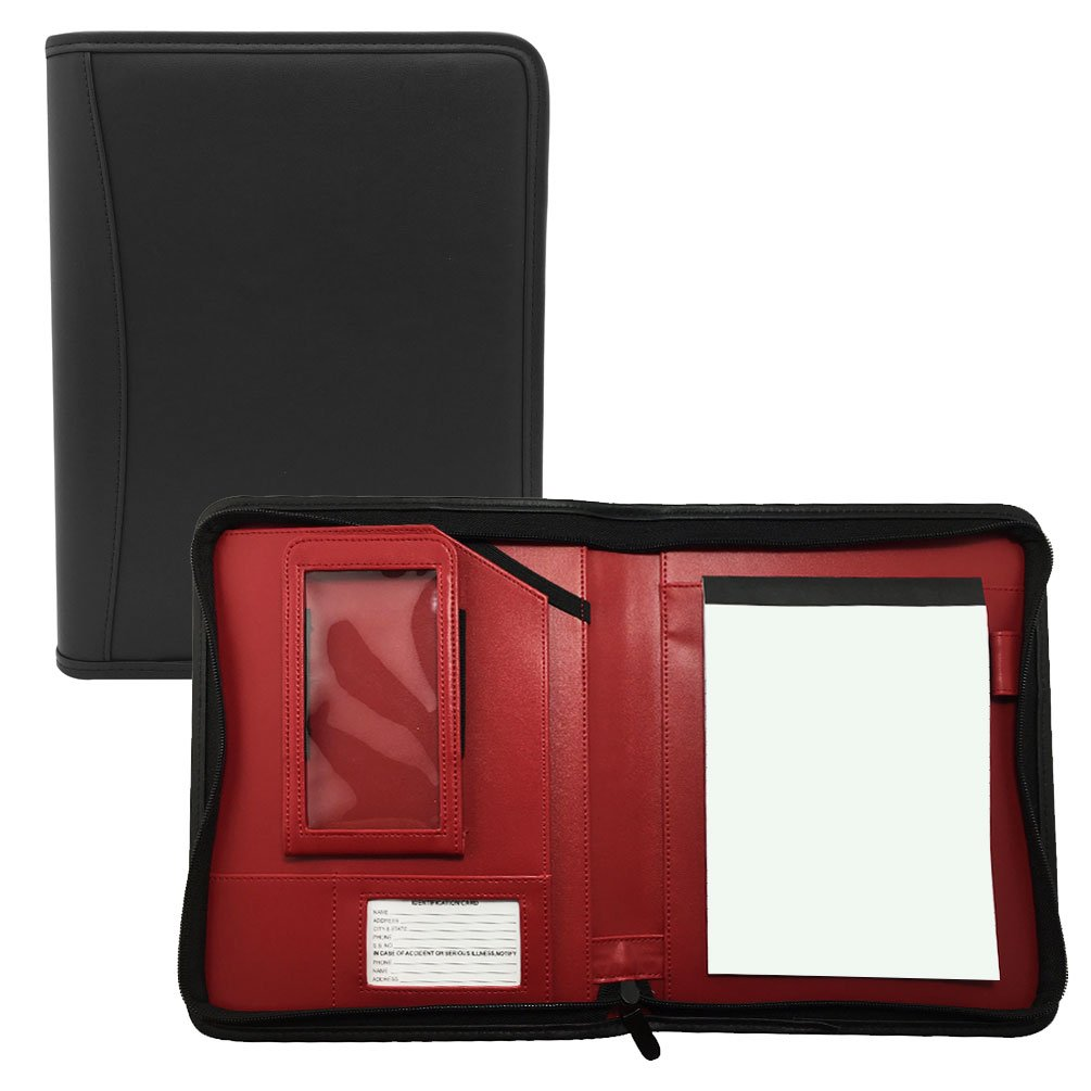 MSP Small Black Business Padfolio with Bright Red Liner | All Around Zipper, Smart Phone and 8'' Tablet Holder, Notepad (100 Black-Red)