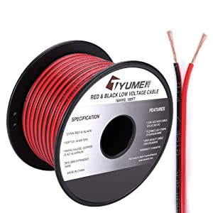 TYUMEN 100FT 18 Gauge 2pin 2 Color Red Black Cable Hookup Electrical Wire LED Strips Extension Wire 12V/24V DC Cable, 18AWG Flexible Wire Extension Cord for LED Ribbon Lamp Tape Lighting