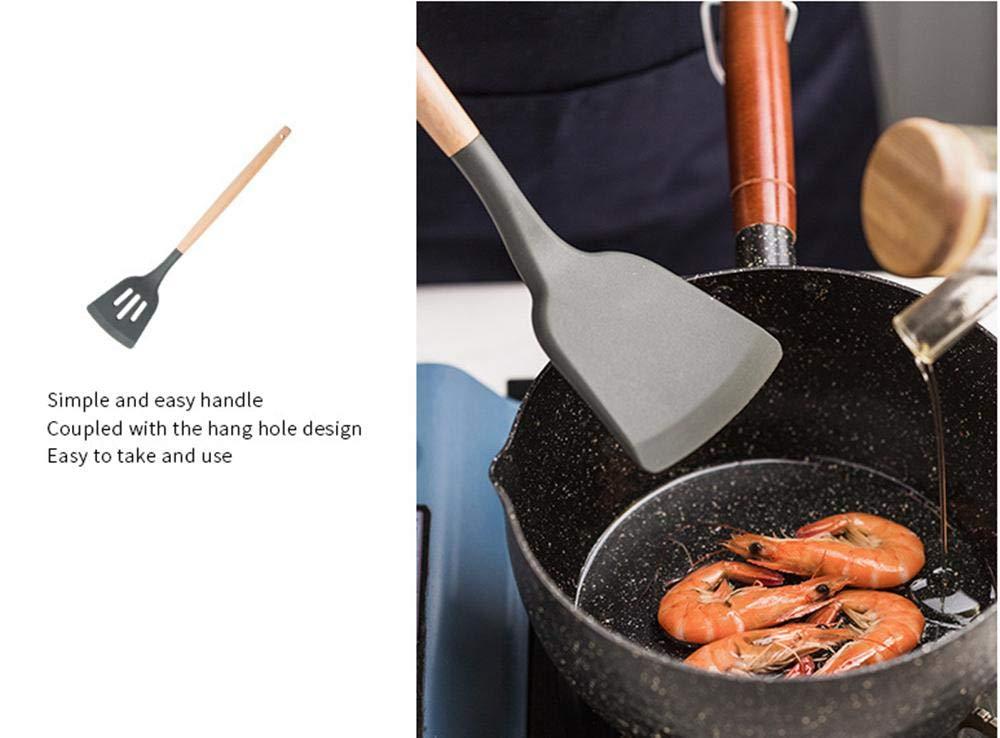 Contiene Serbatoio Rosso Set di Utensili per Cottura ad Alta Temperatura con Manico in Legno di 7 GY-YYYY Utensili da Cucina in Silicone