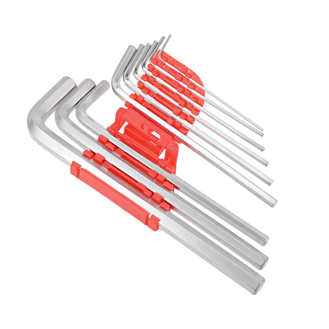 Small 9 in 1 Combination Wrench with Molded Plastic Holder uxcell Hex Key Set