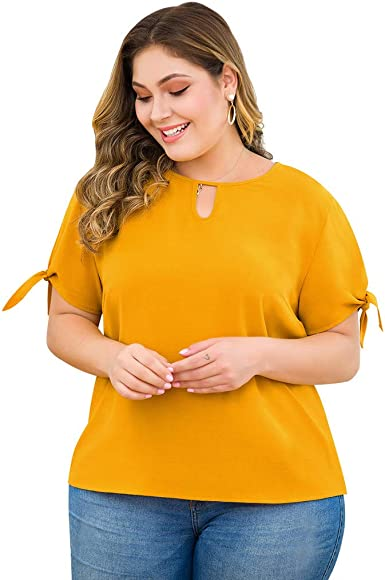 Womens Plus Size Tops Short Sleeve Round Neck Solid Color Key Hole Hollow Out Simple Elegant Casual T-Shirt