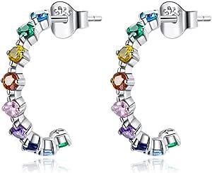 GDDX Pendientes de aro de plata esterlina para mujer Pendientes de aro redondos circulares de zirconia cúbica para joyería de mujer
