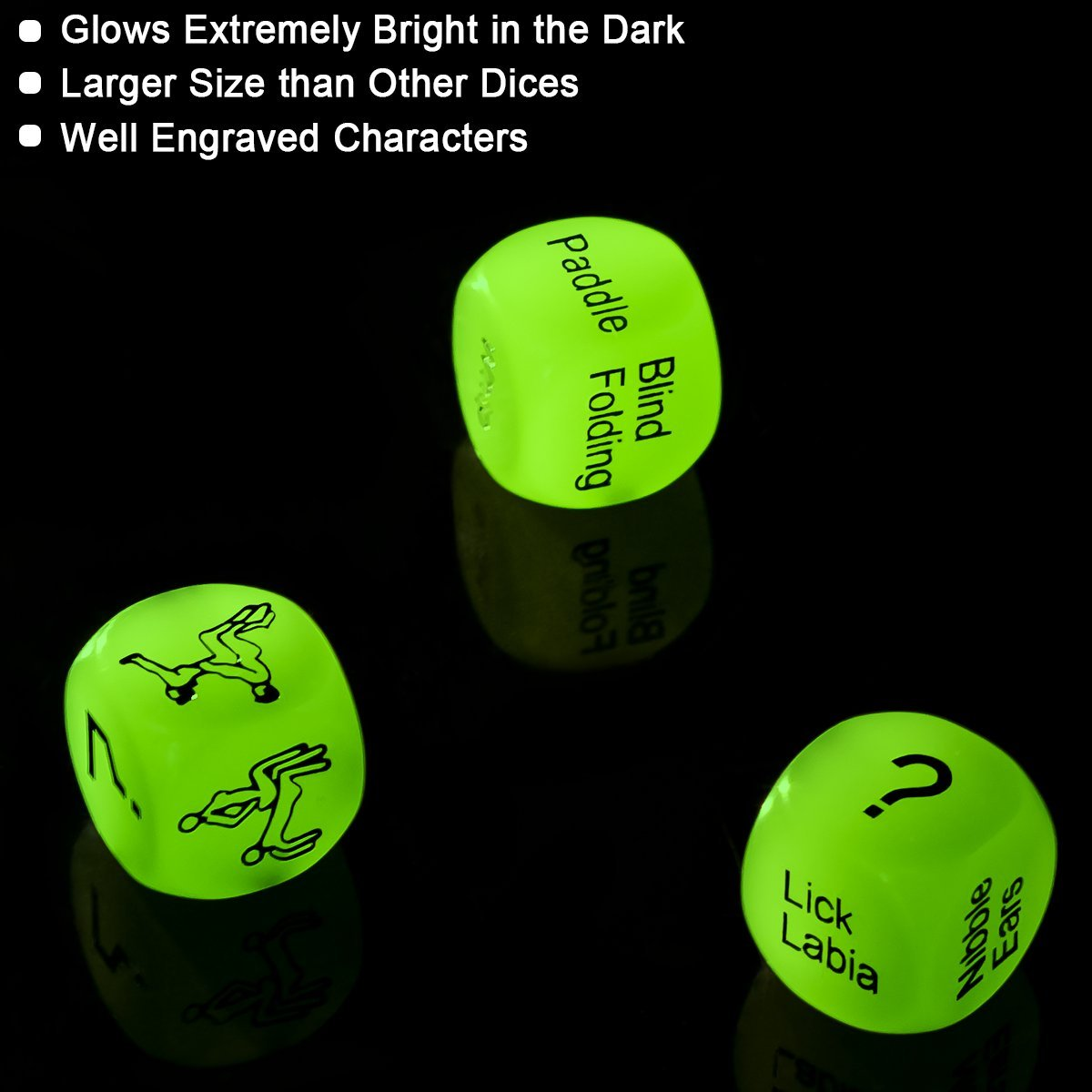 SEXY SLAVE Sex Dice for Couples - Glow in the Dark Spicy Dices with 3 Levels Up for Beginners or Advanced Players,Set of 3,Large Size
