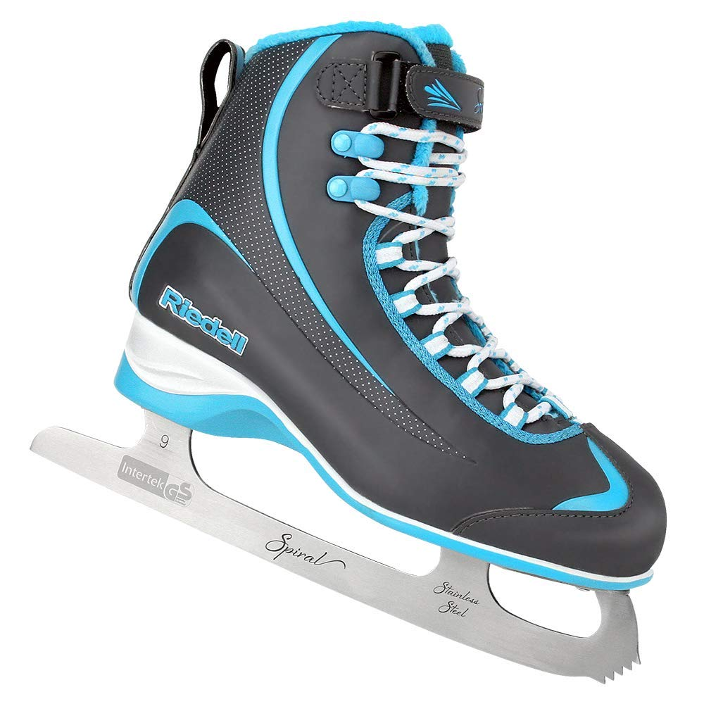 Riedell Skates - 615 Soar Jr - Youth Soft Beginner Figure Ice Skates | Gray & Blue | Size 1 Junior by Riedell (Image #1)