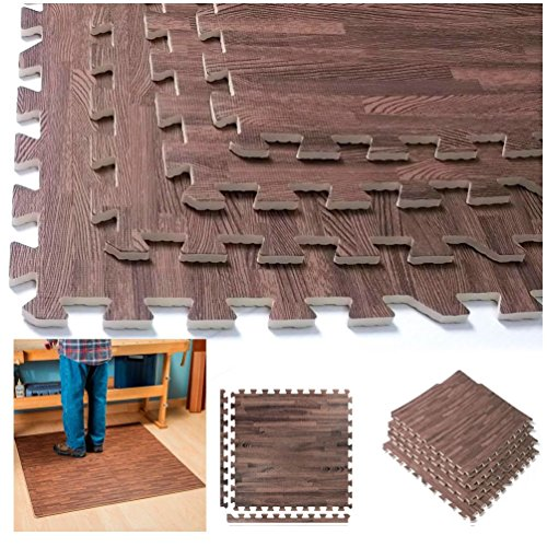 Interlocking Dark Wood Eva Mats Soft Foam Exercise Floor Gym Office Puzzle Tile by unbrand