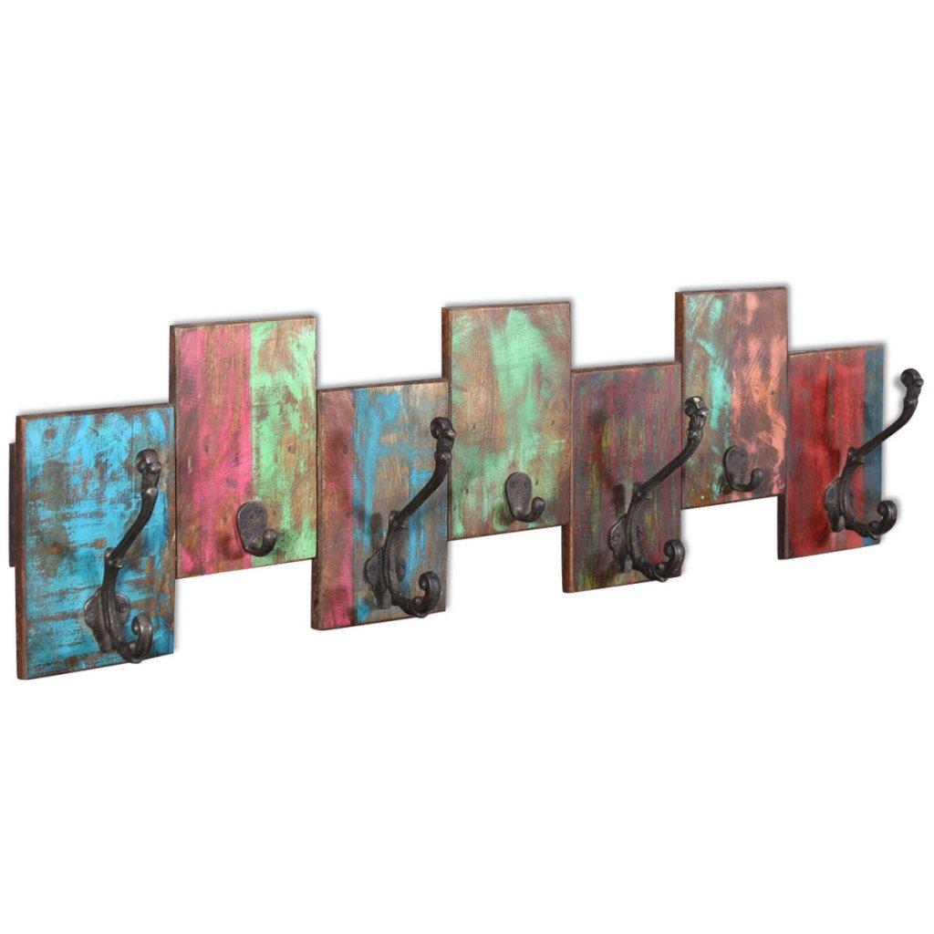 Festnight Perchero con 7 Ganchos - Multicolor Material de Madera, 78x23x10 cm