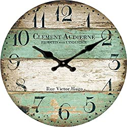 Grazing 12 Vintage Green and Brown Colorful Stripes Design Rustic Country Tuscan Style ,Arabic Numerals ,Home Decorative Wooden Round Wall Clock (Victor)