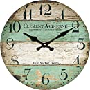 """Grazing 12"""" Vintage Green and Brown Colorful Stripes Design Rustic Country Tuscan Style ,Arabic Numerals ,Home Decorative Wooden Round Wall Clock (Victor)"""