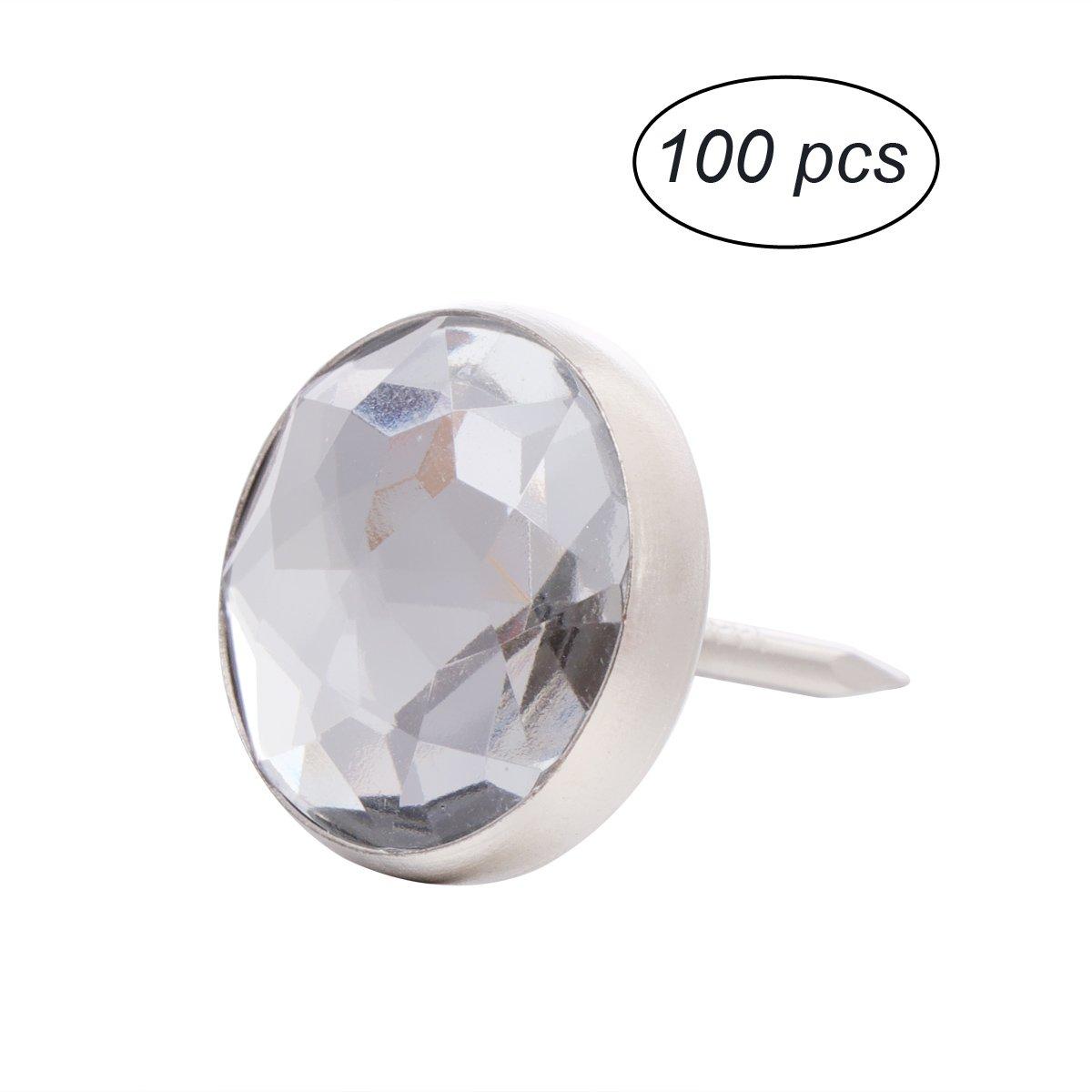 ROSENICE Crystal Head Push Pins Sofa Headboard Upholstery Nails Buttons Tacks 100pcs