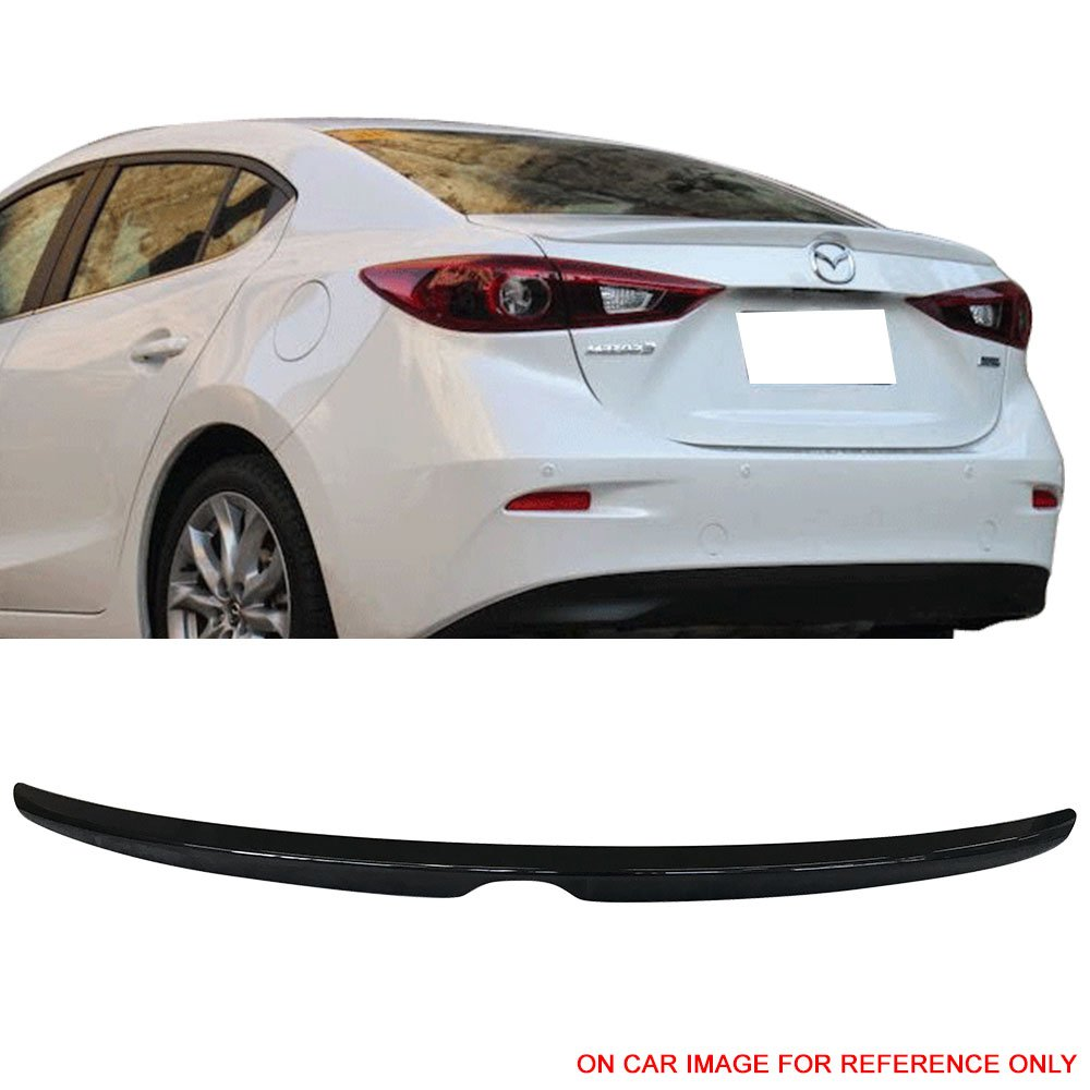 Pre-Painted Trunk Spoiler Fits 2014-2018 Mazda 3 | OE Style Painted #41W Jet Black Mica ABS Car Exterior Trunk Spoiler Rear Wing Tail Roof Top Lid Other Color Available By IKON MOTORSPORTS | 2015