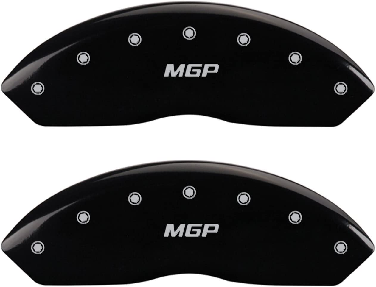 MGP Caliper Covers 41004SMGPBK MGP Engraved Caliper Cover with Black Powder Coat Finish and Silver Characters, Set of 4
