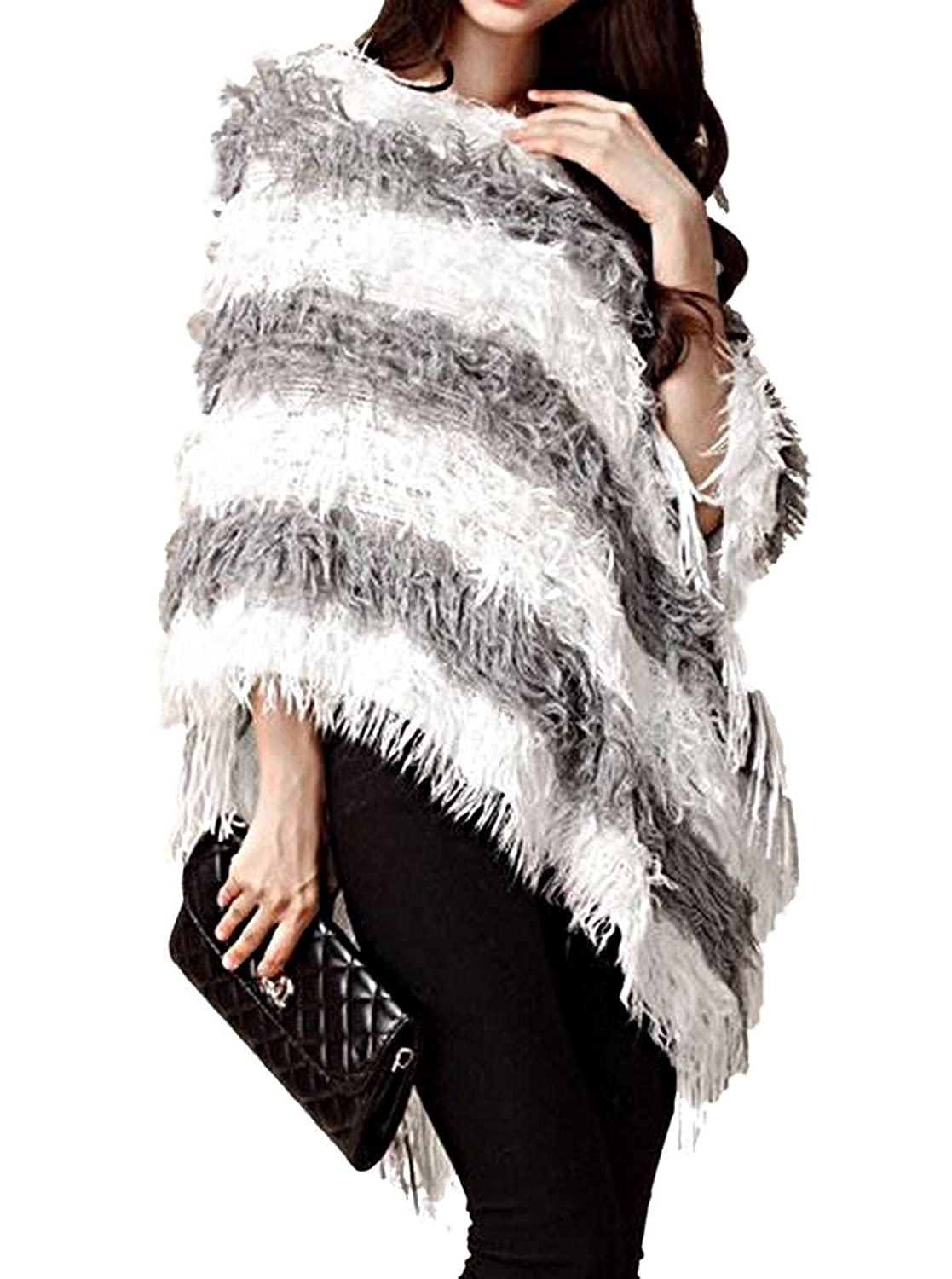 Women's Stylish Knitted Sweater Poncho Pullover S09F, White