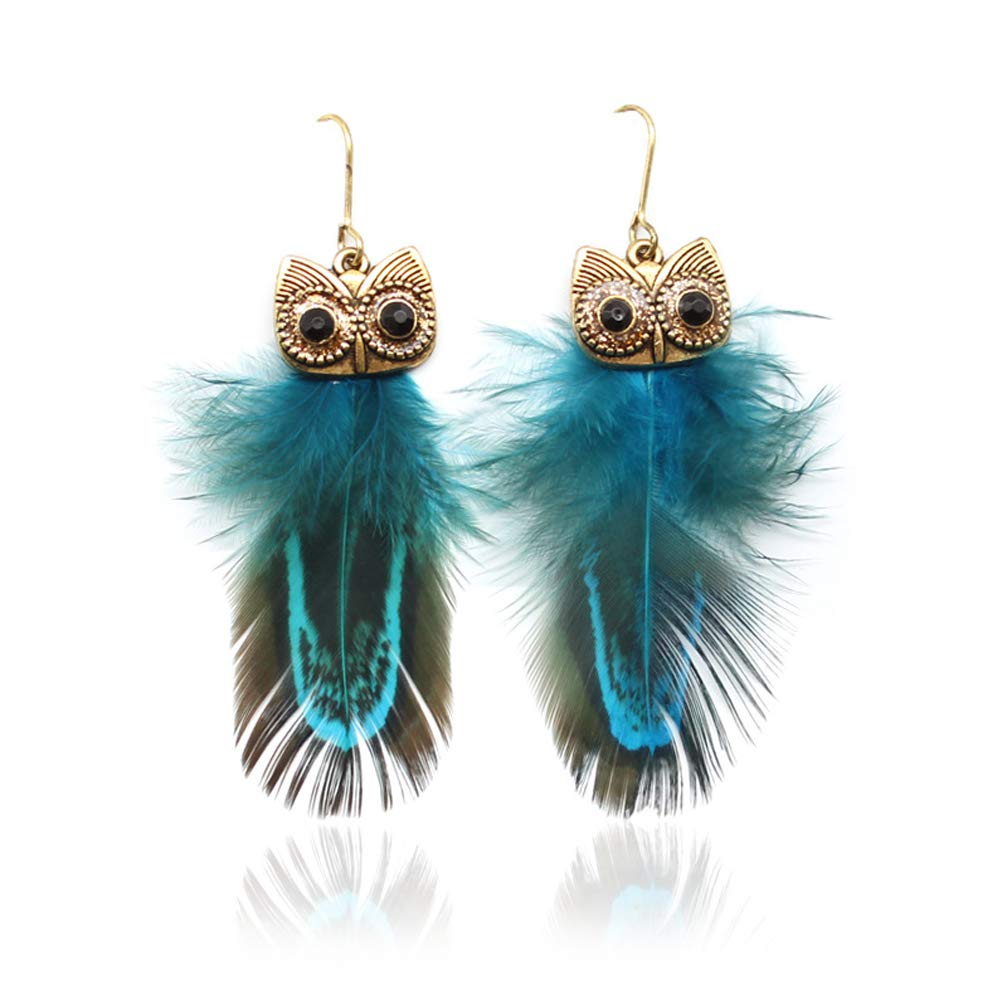 EmmaGreen Feather Earrings Real Feather Design Indian Style with Cute Night Owl Design Dangle Drop Earrings