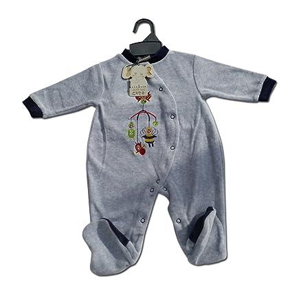 Terciopelo Algodón Baby Boy growsuit/pijama gris bumbble abeja Pelele 0 – 3-6