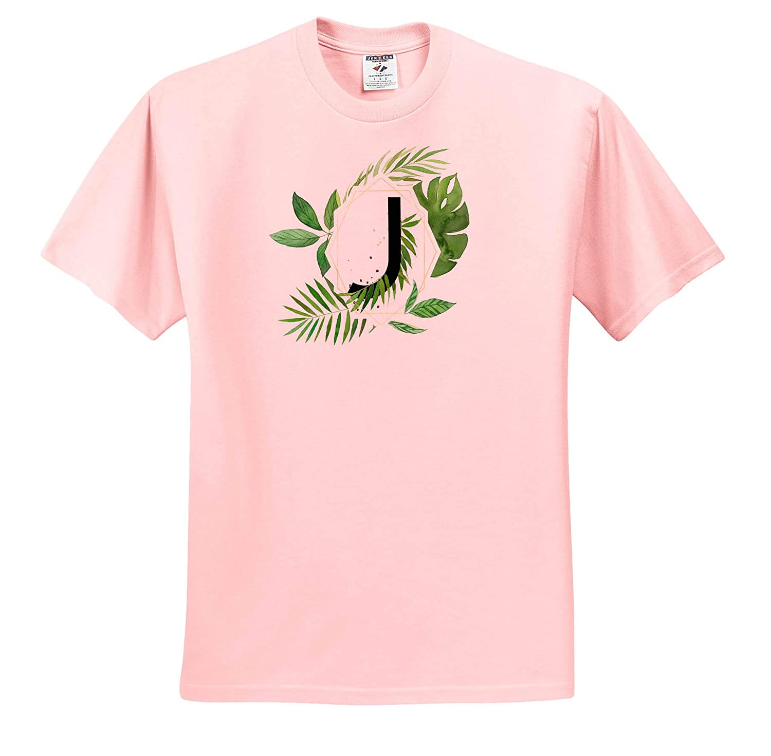 ts/_318120 3dRose Anne Marie Baugh Adult T-Shirt XL Chic Image of Watercolor Tropical Leaves Monogram J Monograms