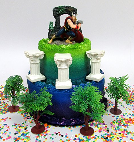 Avengers Super Hero THOR Birthday Cake Topper Set Featuring Thor Figure and Decorative Themed Accessoreis