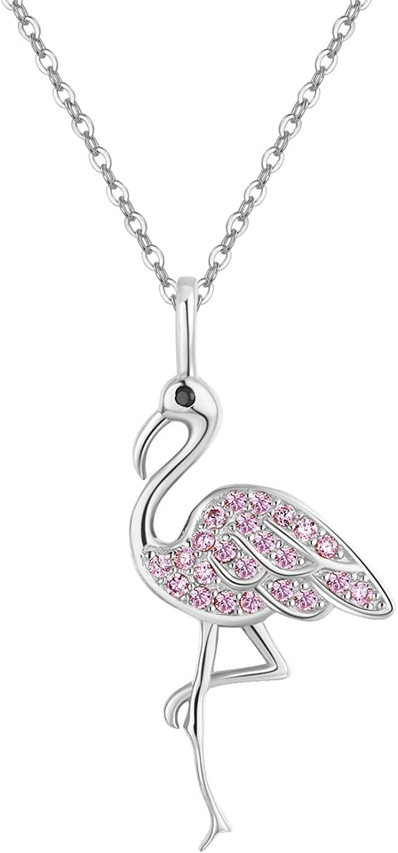 Flamingo Gifts S925 - Collar de flamenco de plata de ley con colgante de flamenco, color rosa