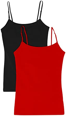 372579fb1b Women s Camisole Built-in Shelf Bra Adjustable Spaghetti Straps Tank Top  Pack 2 Pk Black