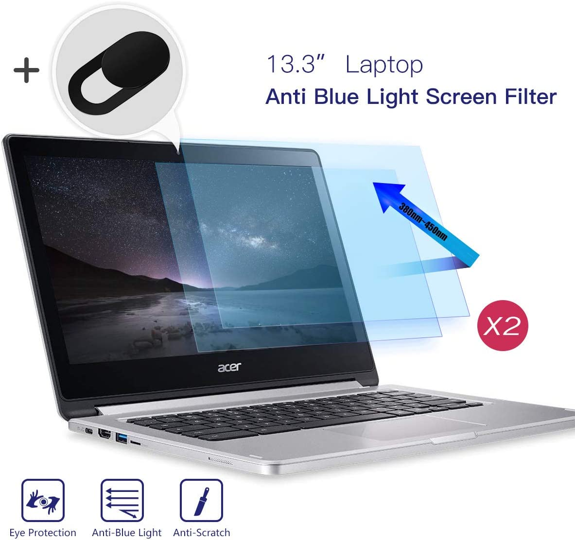 "2-Pack 13.3 Inch Laptop Screen Protector, Anti Blue Light Anti Glare Filter, Eye Protection Blue Light Blocking& Anti Glare Screen Protector for Dell/HP/Acer/Asus/Lenovo 13.3""16:9 Laptops with Webcam Cover"