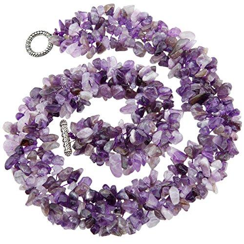 SUNYIK Purple Amethyst Tumbled Stone Bib Necklace Collar Choker Strands 17.5 inches by SUNYIK (Image #2)