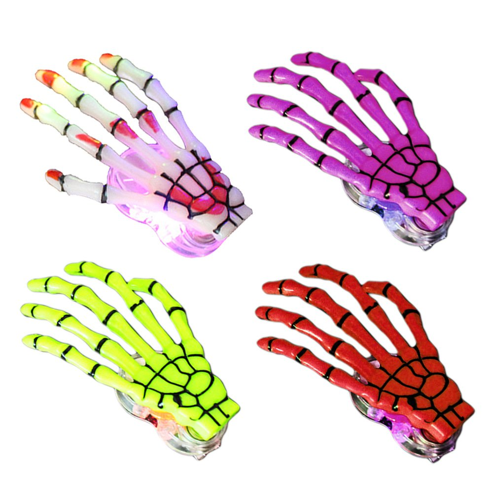 Elisona-4 PCS Fashion LED Women Skeleton Hand Bone Punk Hairpin Hair Clip Barrette for Halloween Decoration Accessories Assorted Color
