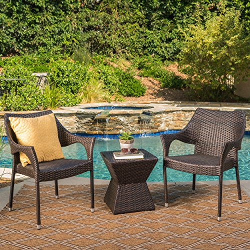 Arlost Outdoor 3 Piece Muttibrown Wicker Chat Set with Stacking Chairs and Square Side Table -