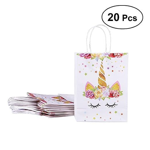 20 bolsas de papel BESTOYARD, diseño de unicornio, para decoración de fiesta de cumpleaños, para regalo, bolsas de dulces, para bodas y regalos (2 ...