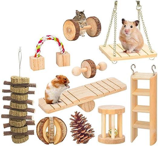 Tvvudwxx - Juego de 10 Juguetes para Masticar pequeñas Mascotas de Madera de ratán, Escalera, para hámster, Conejo, cobaya, Juguete: Amazon.es: Productos para mascotas