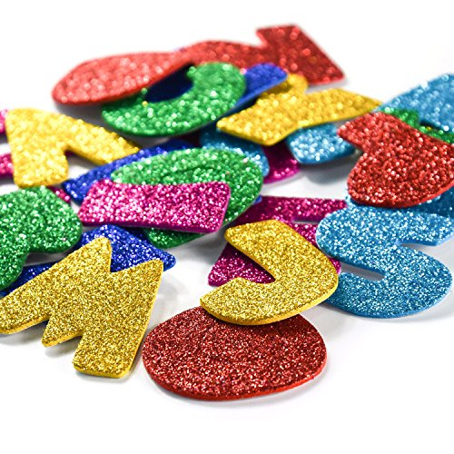 [6 Pack]Glitter Letter Foam Stickers Self-Adhesive Letters Alphabet A-Z Stickers for Kids Creative Toys DIY Scrapbooking Card Making Accessories,Assorted Mixed Colors,156pcs