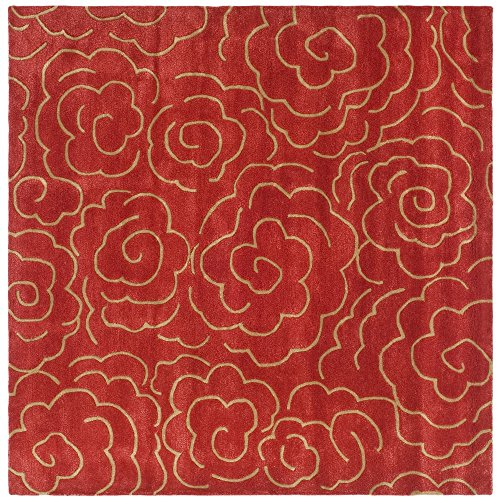 Safavieh Soho Collection SOH812A Handmade Red Premium Wool Square Area Rug (6