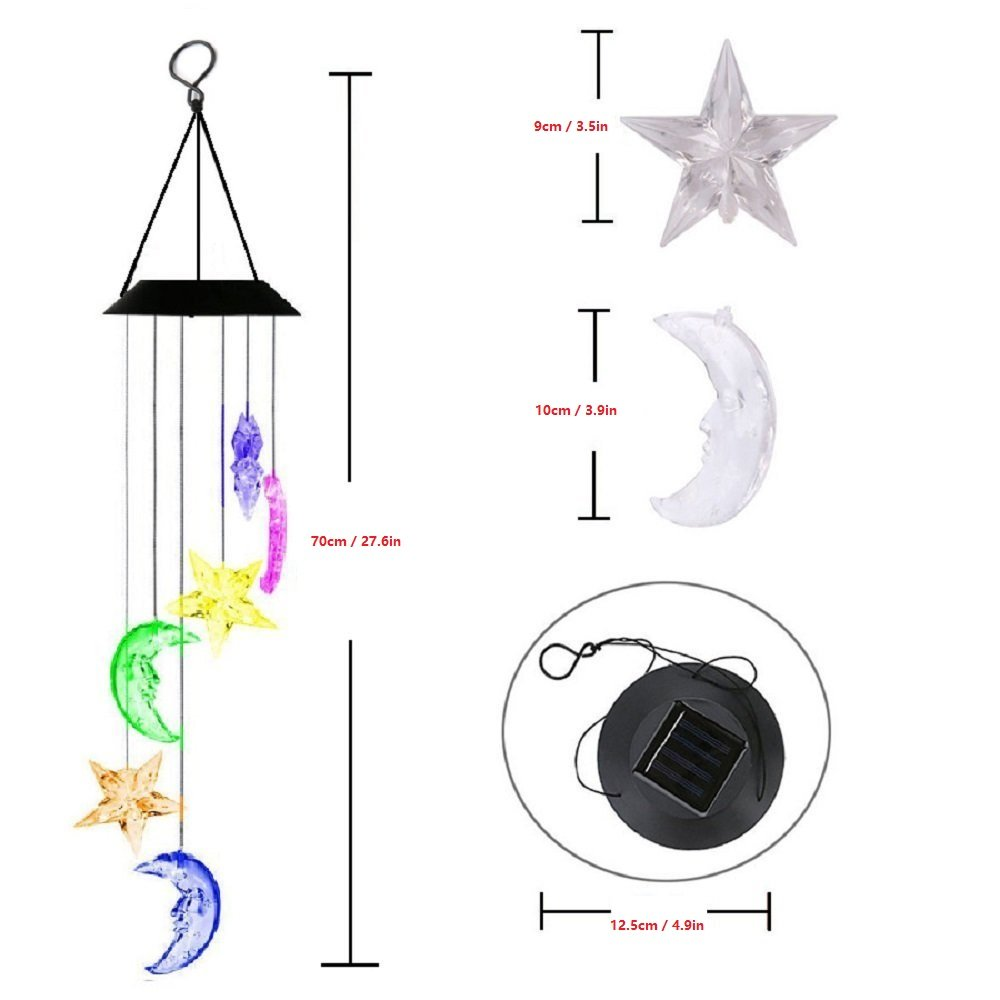 Lighten Glimmer Colorful Solar Spiral Wind Waterproof Changing Romantic Star Moon Wind Chime Light Mobile Balcony Courtyard Hanging (For Outdoor Garden) by Lighten Glimmer (Image #4)