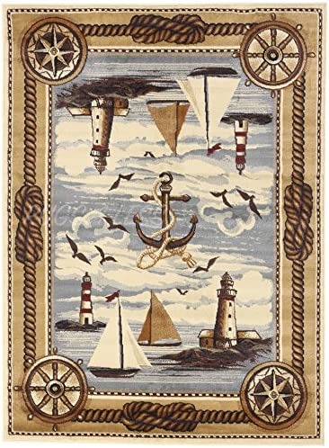 Nautical Coastal Ships Lighthouse Sailor Anchor Nature Themed Style Area Rug Design R4L 751 5 X7