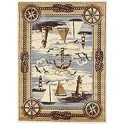 Nautical Coastal Ships Lighthouse Sailor Anchor Nature Themed Style Area Rug Design R4L 751 (8'X10')