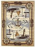 Nautical Coastal Ships Lighthouse Sailor Anchor Nature Themed Style Area Rug Design R4L 751 (5'X7')
