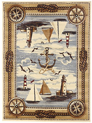 Nautical Coastal Ships Lighthouse Sailor Anchor Nature Themed Style Area Rug Design R4L 751 (8'X10')