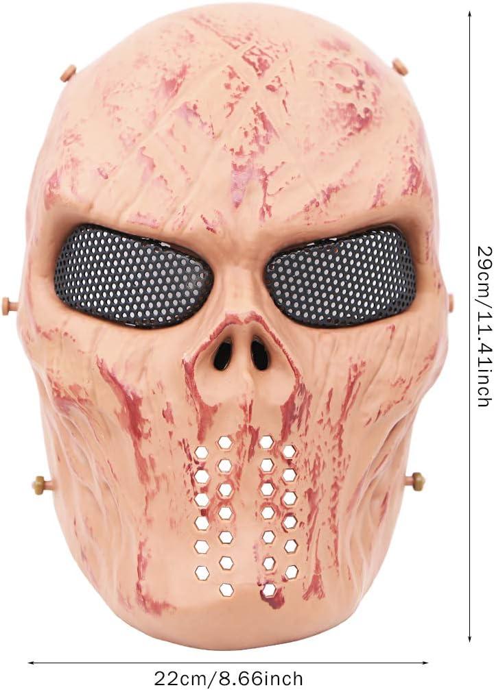 m/áscara de paintball t/áctica de esqueleto de calavera de cara completa con protecci/ón de ojos de malla met/álica para baile de disfraces fiesta de Halloween M/áscara de cara completa de Airsoft pistola BB juego de Cs